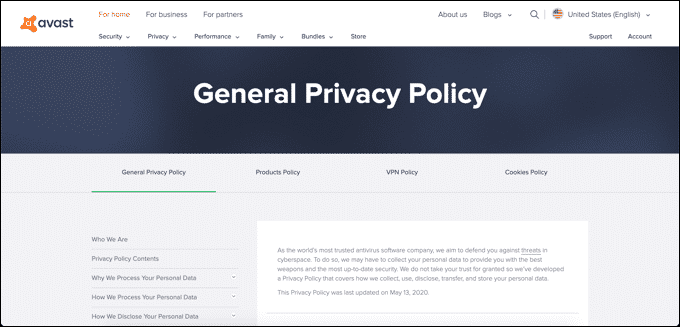 Avast Privacy Policy