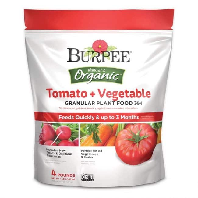 La mejor opción de fertilizante para tomates: Burpee Organic Tomato and Vegetable Plant Food
