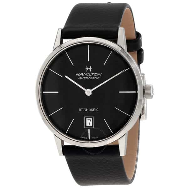 Hamilton Intra Matic Black Dial Leather Mens Watch
