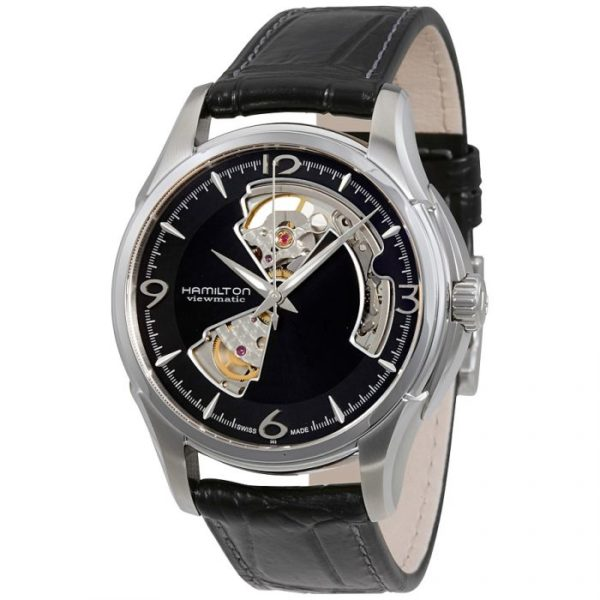 Hamilton Mens Jazzmaster Open Heart Black Leather Black with Skeleton Cut out Dial