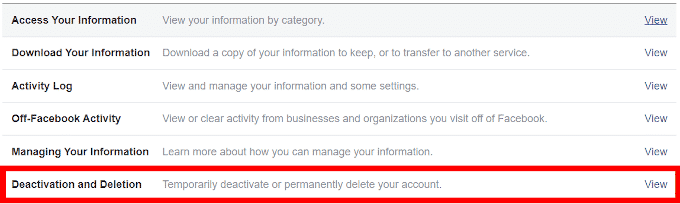 How to Deactivate A Facebook Account 1