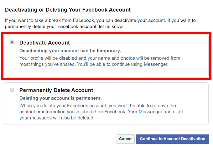 How to Deactivate A Facebook Account 2