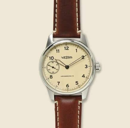 Weiss Mens Natural Special Edition Field Watch Latte brown