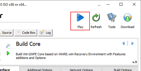 Win10XPE Play Button