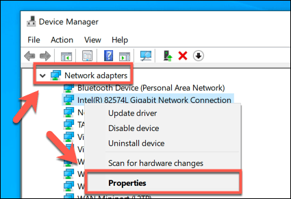 Windows Device Manager Network Properties