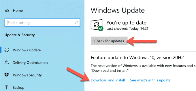 Windows Search for Updates