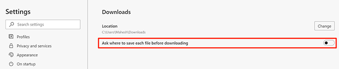 ask download location