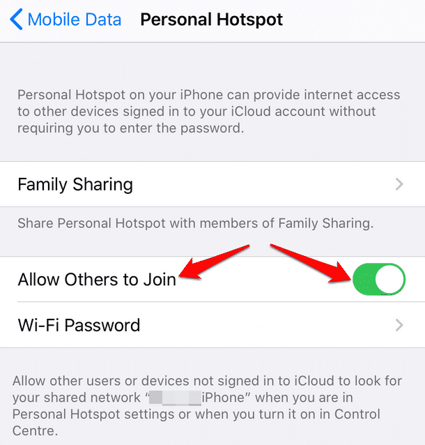 connect computer mobile hotspot iphone hotspot allow others to join