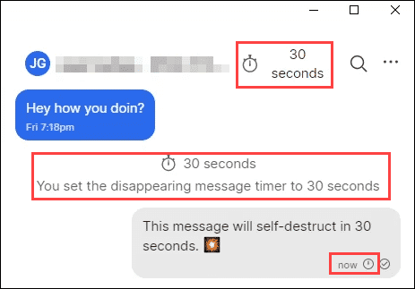 disappearing message notification