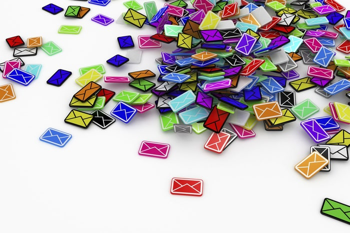 email pile stock image 100595122