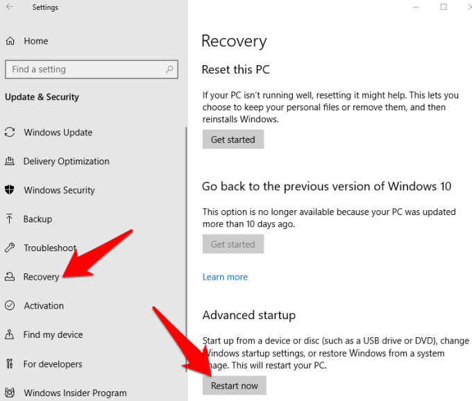 f8 not working windows 10 recovery restart now