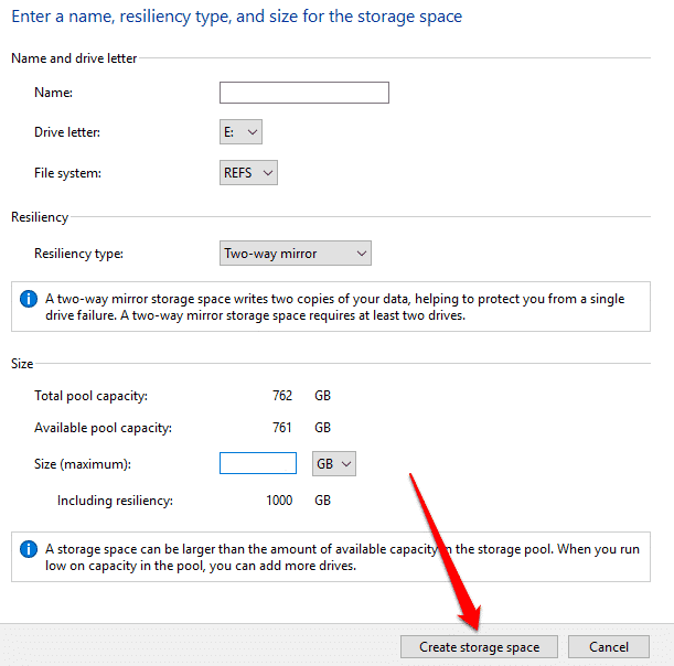 how to use storage spaces on windows 10 for data backups create storage space
