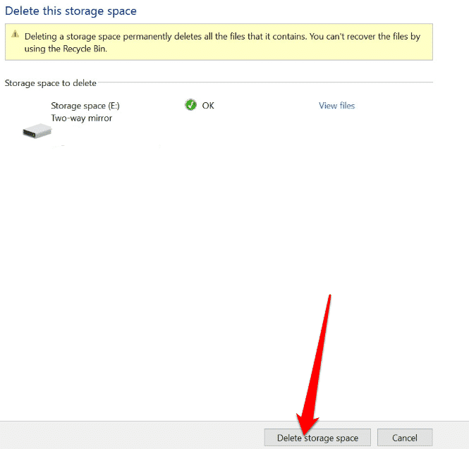 how to use storage spaces on windows 10 for data backups delete storage space