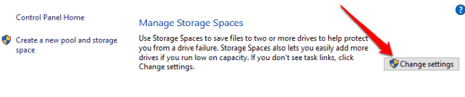 how to use storage spaces on windows 10 for data backups manage storage spaces change settings