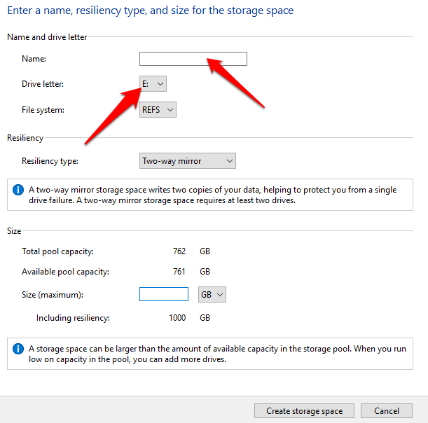 how to use storage spaces on windows 10 for data backups name drive letter
