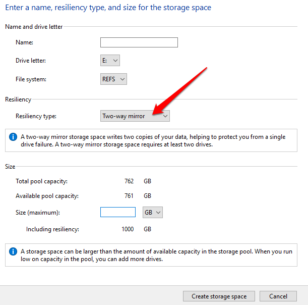 how to use storage spaces on windows 10 for data backups select resiliency type