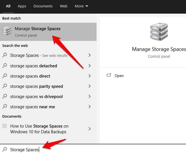 how to use storage spaces on windows 10 for data backups storage spaces search