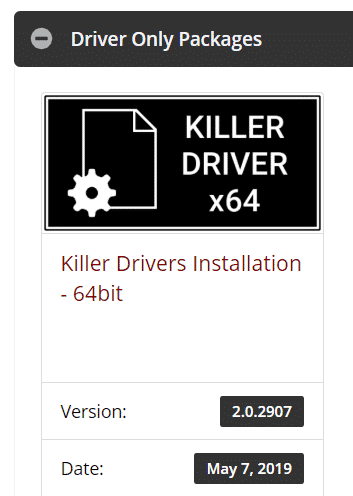 killer only network drivers