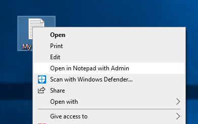 open notepad with admin