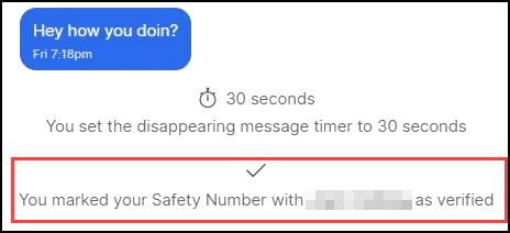 safety number verified