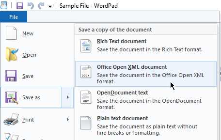 save as open XML
