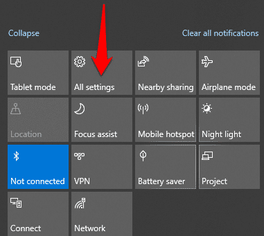 turn on bluetooth windows 10 action center all settings